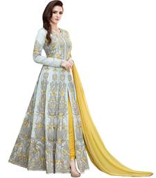 Buy Grey resham embroidery Silk Anarkali Suit anarkali-salwar-kameez online