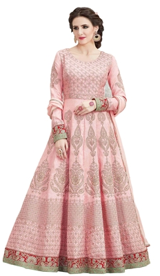 Pink resham embroidery silk Anarkali Suit