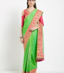 Buy green silk saree with blouse heavy-work-saree online