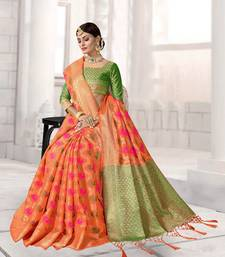 Buy Orange woven art silk saree with blouse women-ethnic-wear online