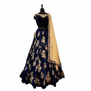 Neavy Blue Taffeta Silk Embroidered Lahenga Choli
