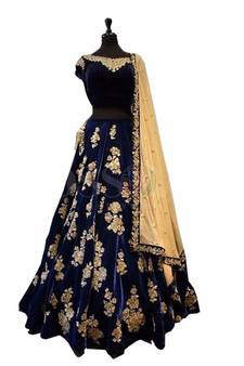f574b36ff6 Neavy Blue Taffeta Silk Embroidered Lahenga Choli. Shop Now