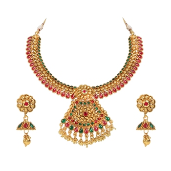 khetlazee gold plated multicolor south indian jewellery for women and girls