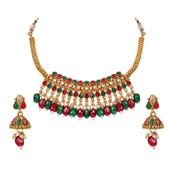 khetlazee Multi color gold plated copper necklace studded with ad stones for women and girls