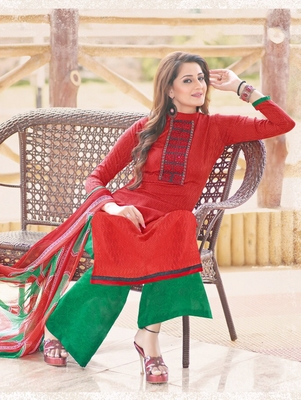 Red and green designer cotton jacquard semistitched palazzo suit with dupatta