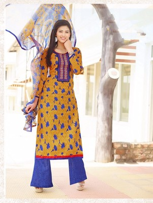 Yellow and blue designer cotton jacquard semistitched palazzo suit with dupatta