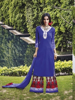 Royal blue designer cotton satin unstitched palazzo suit with dupatta