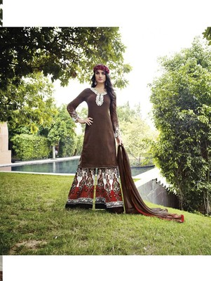 Dark brown designer cotton satin unstitched palazzo suit with dupatta
