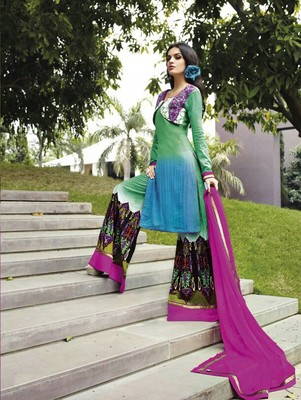 Blue and purple designer cotton satin unstitched palazzo suit with dupatta