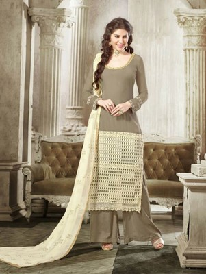 Shadow brown latest designer semi stitched georgette palazzo suit with dupatta