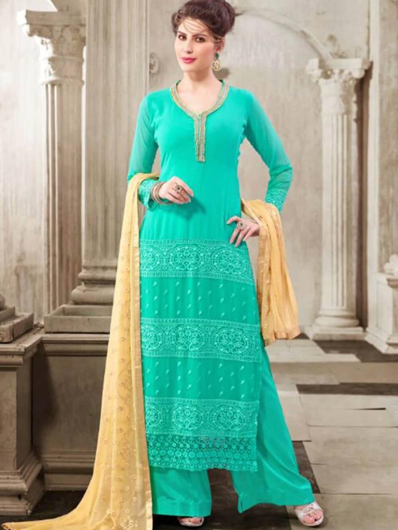 Sea green latest designer semi stitched georgette palazzo suit with dupatta
