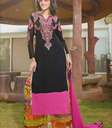 Black and pink designer semi stitched georgette palazzo suit with dupatta