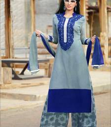 Grey and blue designer semi stitched georgette palazzo suit with dupatta