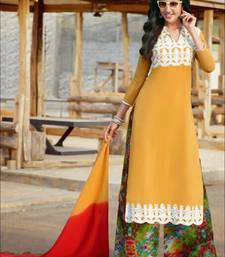Yellow and white designer semi stitched georgette palazzo suit with dupatta