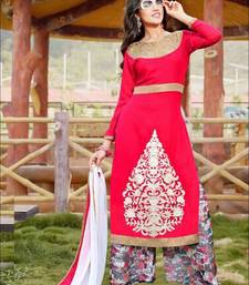 Red and white designer semi stitched georgette palazzo suit with dupatta