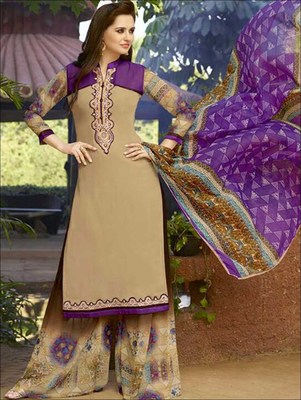 Sandy brown designer semi stitched georgette palazzo suit with dupatta