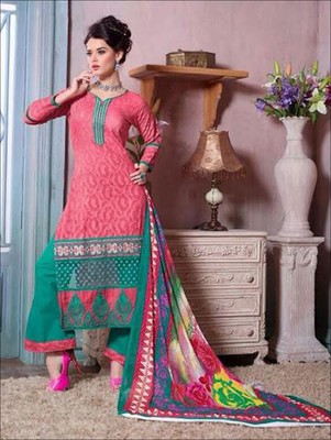Pink and green designer cotton jacquard unstitched palazzo suit with dupatta