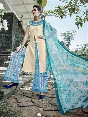 Ivory designer glace cotton unstitched palazzo suit with dupatta