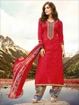 Red designer cambric unstitched palazzo suit with dupatta
