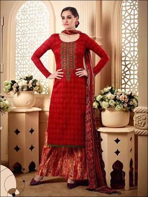 b746408b76 Red designer jaam silk cotton unstitched palazzo suit with dupatta - Zoharin  - 2629283