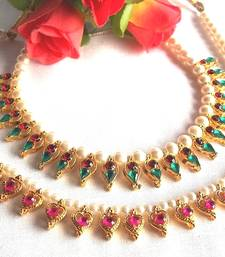 Multi Color with Pink Heart Pearl Necklace