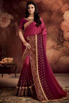 3405f14e8ed861 Dark pink plain silk saree with blouse. Shop Now