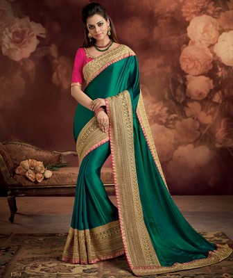 Teal plain silk saree with blouse
