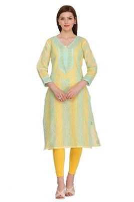 Yellow Embroidered Cotton Chikankari Kurti