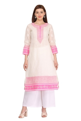 Cream embroidered cotton chikankari-kurtis