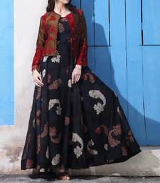 Buy Multi colour Digital printed Long dress with jacket maxi-dress online