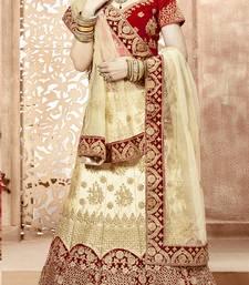 Buy Cream embroidered satin semi stitched lehenga wedding-lehenga online