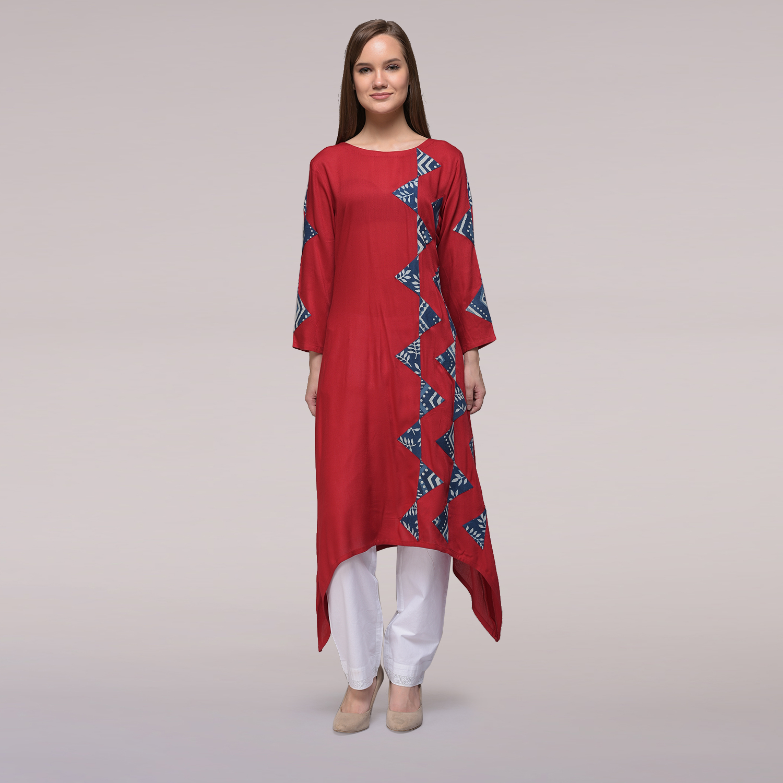 8ad29779cef Red Assymetrical Hem Applique Cotton Silk Kurta - GetNatty X Simply Kitsch  - 2630265