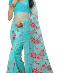 Dark sky blue embroidered net saree with blouse