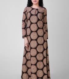 Buy Black-Beige Block-printed Cotton dress dress online