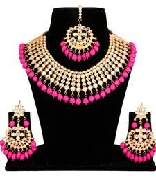 Buy Pink kundan rose gold necklace sets necklace-set online