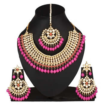 1b0959b032b641 Pink kundan rose gold necklace sets - Quail - 2628405