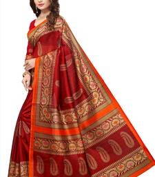 Buy Maroon printed bhagalpuri silk saree with blouse bhagalpuri-silk-saree online