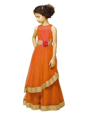 51704b74e5abc Orange embroidery puresatin silk festival special gown dress for kids wear  - White Button - 2631108
