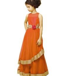 Buy Orange embroidery puresatin silk festival special gown dress for kids wear women-ethnic-wear online