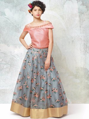 Peach an grey silk with organza fabric embroidery flaired wedding wear  lehenga choli for girls wear