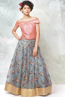aa90ec94c4 Peach an grey silk with organza fabric embroidery flaired wedding wear lehenga  choli for girls wear · Shop Now