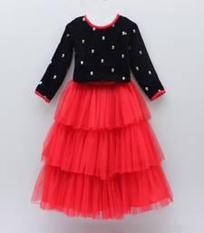 Buy Dark black sequance embroidery viscose velvet partywear top and skirt dress for Kids Wear kids-frock online