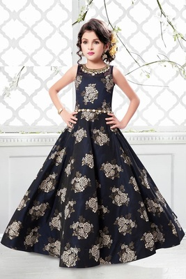 Navy Blue Jequard Weave Floral Silk Partywear Gown Dress  Girls For Kids Wear