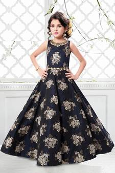ed7fa38ff4b Navy blue jequard weave floral silk partywear gown dress girls for kids wear