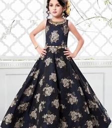 Navy blue jequard weave floral silk partywear gown dress  girls for kids wear