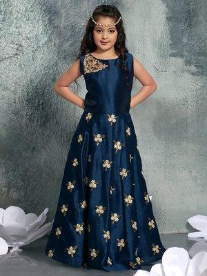 Navy Blue  Heavy Embroidery Banglori Silk Partywear Gown Dress  Girls For Kids Wear