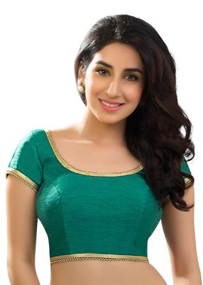 Rama green banglore silk unstiched blouse