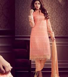Buy Orange embroidered georgette semi stitched pakistani salwar with dupatta pakistani-salwar-kameez online