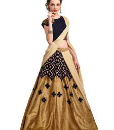 Buy Golden embroidered silk semi stitched lehenga party-lehenga online