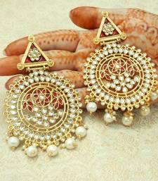 Maroon kundan earrings